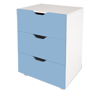 flatpax kids furniture - blue 3 drawer unit
