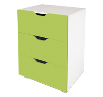 flatpax kids furniture - green 3 drawer unit
