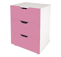flatpax kids furniture - pink 3 drawer unit
