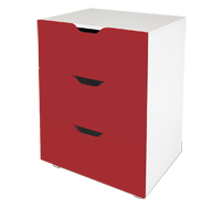 flatpax kids furniture - red 3 drawer unit