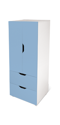 flatpax kids furniture - blue kids wardrobe and drawers