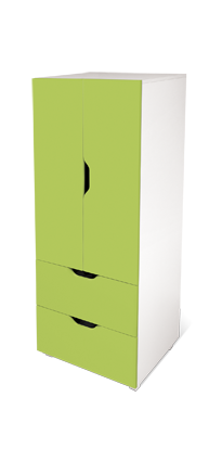 flatpax kids furniture - green kids wardrobe and drawers