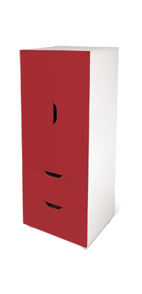 flatpax kids furniture - red kids wardrobe and drawers