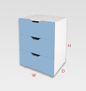 kids furniture - blue kids drawers 3 drawer unit
