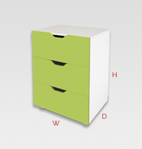 kids furniture - green kids drawers 3 drawer unit