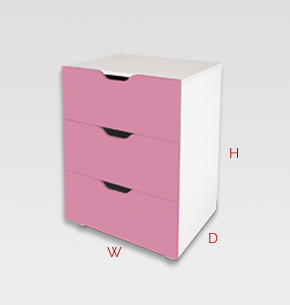 kids furniture - pink kids drawers 3 drawer unit