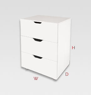 kids furniture - white kids drawers 3 drawer unit