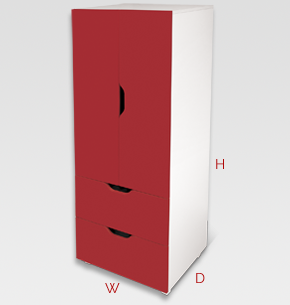 flatpax kids furniture - red kids wardrobe