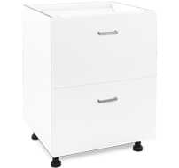 600mm white laundry drawers - 2 drawer